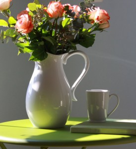 Morning coffee and flowers